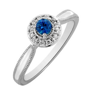 Sterling Silver 1/3ct TDW Blue and White Diamond Promise Ring