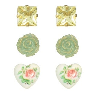 3 Pairs Romantic Stud Earrings Heart Flower Rectangle Stud Earrings