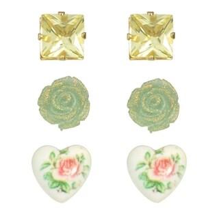 3 Pairs Romantic Stud Earrings Heart Flower Rectangle Stud Earrings