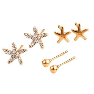 3 Pairs Nautical Starfish Stud Earring Set