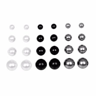 12 Pairs Faux Pearl Earring White Black Gray Pearl Studs