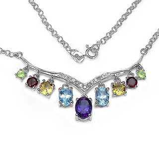 iNatemy .925 Sterling Silver Multi Gemstones Collar Necklace; 5.2 Carat
