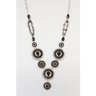 Elegant Necklace Designed by Adaya Set with Round Elements with Black Beads and Swarovski Crystals