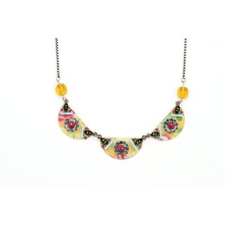 Adaya Tribal Style Necklace Set with Hand Painted Enameled Ornamented Links Crafted with Alpaca, Beads and Swarovski Crystals