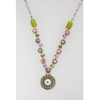 V-Necklace by Adaya Set with Round Elements Accented with Green, Red, Turquoise and Purple Beads and Swarovski Crystals
