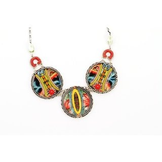 Tribal Style Necklace by Adaya Crafted with Hand Painted Enameled Round Links with Beads, Swarovski Crystals and Chain