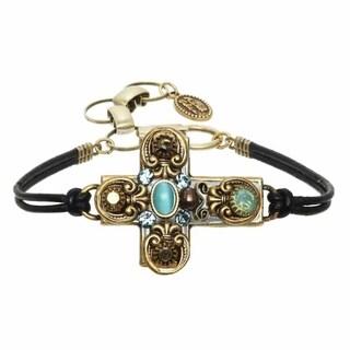 Michal Golan Brass, Swarovski Crystals, Cat's Eye and Abalone Bracelet
