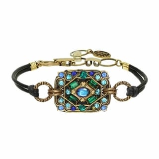 Michal Golan Brass, Turquoise, Blue Crystal Rectangle on Leather Bracelet