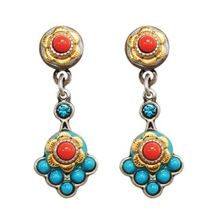 Michal Golan Brass Electroplated, Coral Sea Collection Post Dangle Earrings