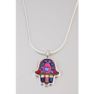 Judaica Hamsa Pendant by Adaya with Blue, Pink and Fuchsia Beads, Swarovski Element Crystals