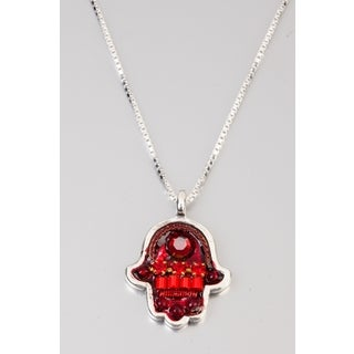 Judaica Hamsa Pendant by Adaya with Red and Bordeaux Beads