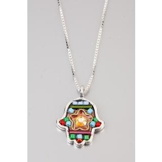 Judaica Hamsa Pendant by Adaya with Blue Green and Red Bead, Swarovski Crystals