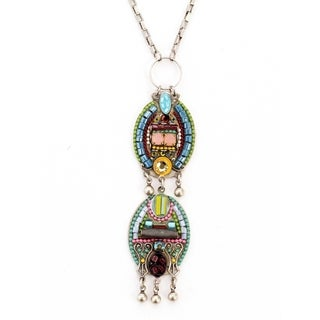 Adaya Ethnic Inspiration Stacked Oval Elements with Hand Painted Motif, Alpaca, Metal Strings, Beads and Swarovski Crystals