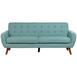Sitswell Daphne Teal Mid-Century Modern Tufted Sofa with 2 Throw Pillows