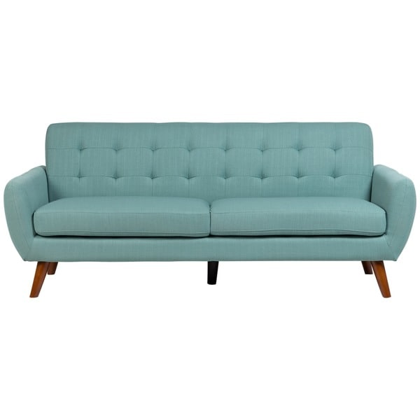 Sitswell Daphne Teal Mid Century Modern Tufted Sofa
