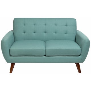 Sitswell Daphne Teal Mid-Century Modern Tufted Loveseat