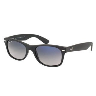 Ray Ban RB 2132 New Wayfarer 601S78 Matte Black Plastic Sunglasses with Blue Gradient Polarized Lens 52mm