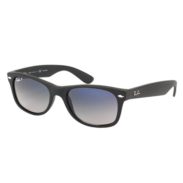 b9fccedbd7a Ray Ban RB 2132 New Wayfarer 601S78 Matte Black Plastic Sunglasses with Blue  Gradient Polarized Lens