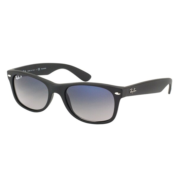 9cc2bbf465 Ray Ban RB 2132 New Wayfarer 601S78 Matte Black Plastic Sunglasses with Blue  Gradient Polarized Lens