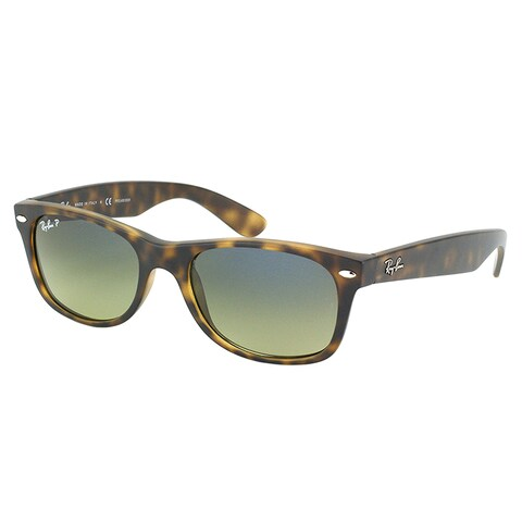 Ray Ban RB 2132 New Wayfarer 894/76 Matte Havana Sunglasses with Blue Green Polarized Lens 52mm