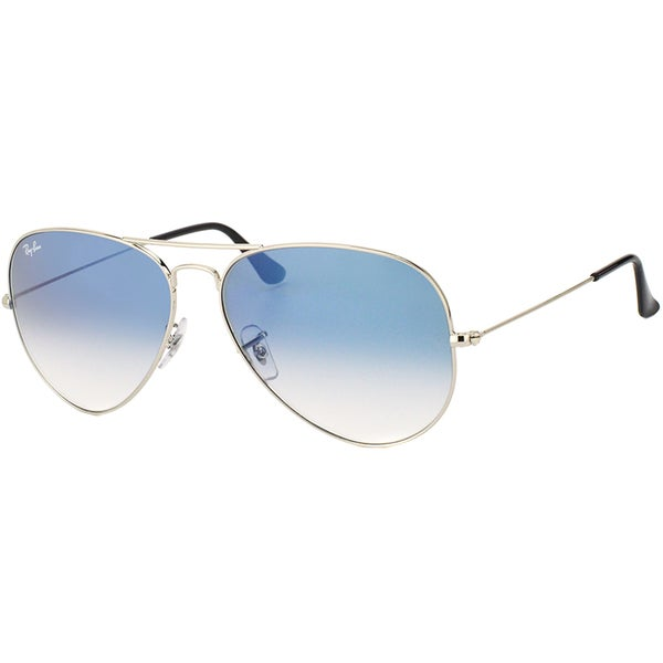 dc93322767 Ray-Ban RB 3025 Classic Aviator 003 3F Silver Metal Sunglasses with Light  Blue