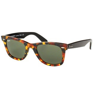 Ray Ban RB 2140 Original Wayfarer Fleck 1157 Spotted Black Havana Plastic Sunglasses with Green Lens