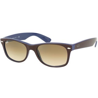 Ray Ban RB 2132 New Wayfarer 874/51 Brown on Blue Plastic Sunglasses with Brown Gradient Lens 55mm