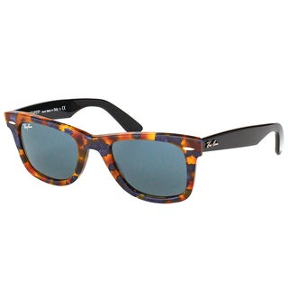 Ray Ban RB 2140 Original Wayfarer Fleck 1158R5 Spotted Blue Havana Plastic Sunglasses with Grey Lens