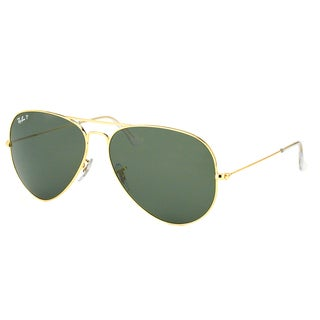 Ray Ban RB 3025 Classic Aviator 001/58 Gold Metal Sunglasses with Green Polarized Lens 55mm