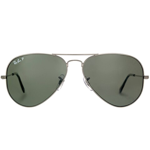 Ray-Ban RB 3025 Classic Aviator 004/58 Gunmetal Sunglasses with Crystal Green Polarized Lens 62mm