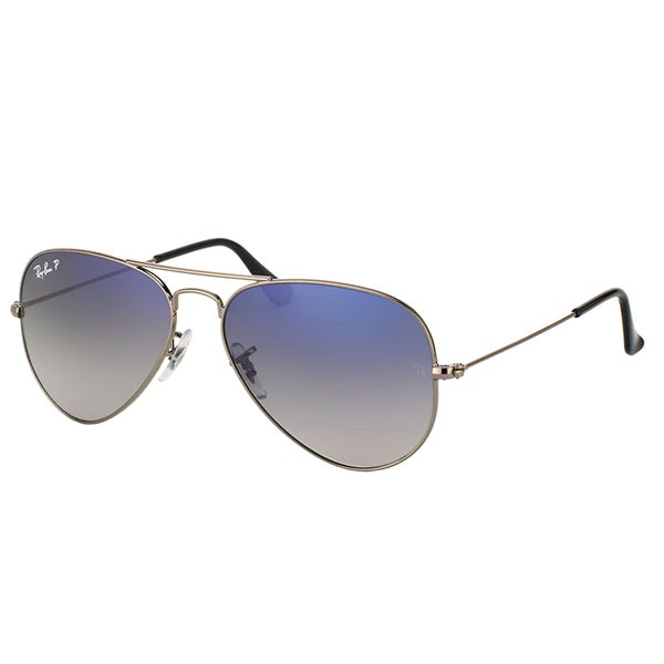 93e6c8b823 Shop Ray-Ban RB 3025 Classic Aviator 004/78 Gunmetal Sunglasses with  Crystal Grey Gradient Polarized Lens 58mm - Free Shipping Today - Overstock  - 14392574