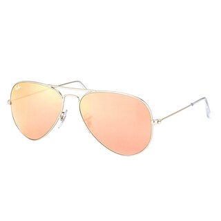 Ray Ban RB 3025 Classic Aviator 019/72 Matte Silver Metal Sunglasses with Brown Mirror Pink Lens 55mm