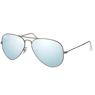 Ray Ban RB 3025 Classic Aviator 029/30 Matte Gunmetal Metal Sunglasses with Silver Mirror Lens 58mm
