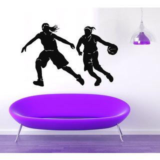Girls Basketball Player Sport Decal Vinyl Sticker Interior Design Art Mural Gym Decor Sticker Decal size 48x76 Color Black