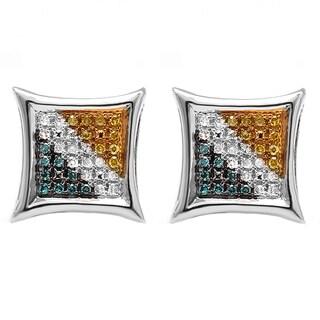 Elora 14k White Gold 1/6ct TDW Diamond Micro Pave Set Kite Shape Stud Earrings (I-J, I2-I3)