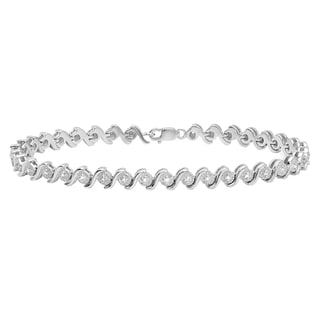 Elora Sterling Silver 1/5ct TDW Round White Diamond Tennis Bracelet (I-J, I2-I3)