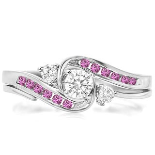 Elora 18k White Gold 1/2ct TGW Round Pink Sapphire and Diamond Accent Bridal Ring Set (H-I, I1-I2)