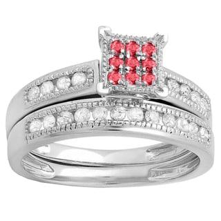 Elora Sterling Silver Round Ruby and 1/2ct TDW Diamond Bridal Ring Set (I-J, I2-I3)