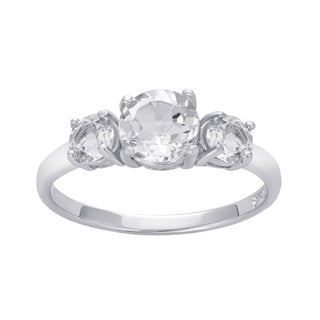 Divina Sterling Silver White Topaz 3 Stone Engagement Ring (4 options available)