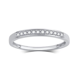 Divina Rhodium-Plated or Goldplated Sterling Silver 1/10Ct TDW Diamond Wedding Band