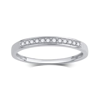 Divina Rhodium-plated or 14k Goldplated Sterling Silver 1/10ct TDW Diamond Wedding Band