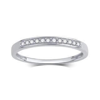 Divina Rhodium-Plated or Goldplated Sterling Silver 1/10Ct TDW Diamond Wedding Band (More options available)