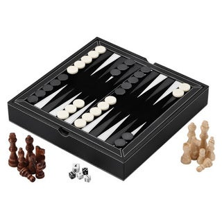 Mainstreet Classics Chess, Checkers and Backgammon with Chessmen Storage - Brown/Beige
