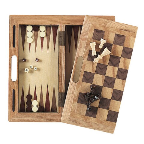 Mainstreet Classics 3-in-1 Wood Chess Checkers Backgammon Game