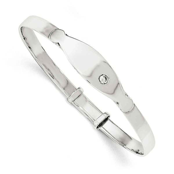 Sterling Silver CZ ID Adjustable Baby Bangle Bracelet by Versil. Opens flyout.