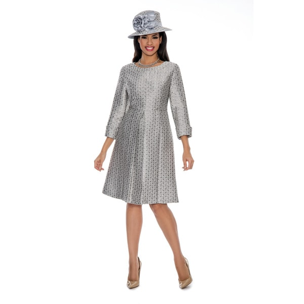 Shop Giovanna Collection Women s Silver Pleated A-line Dress - Free ... f0ac2f1b2