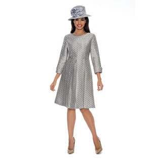 Giovanna Collection Women's Silver Pleated A-line Dress|https://ak1.ostkcdn.com/images/products/14393365/P20964263.jpg?impolicy=medium