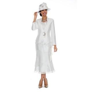 Giovanna Signature Women's Organza Trimmed 2-piece Skirt Suit
