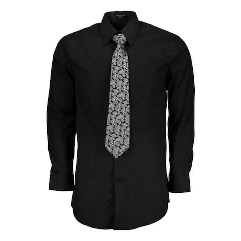 Men's Regular-fit Solid Long Sleeve Black Dress Shirt with Mystery Tie Set