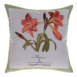 Tiger Lily Embroidered Green Linen and Cotton Throw Pillow